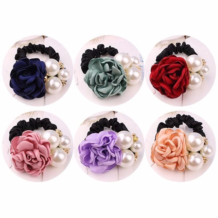 Dây Buộc tóc hoa hồng ngọc trai
