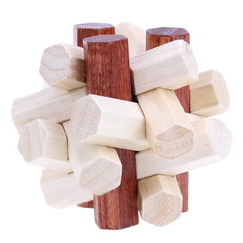 Wooden Educational Lock Brain Teaser Intelligence Game Puzzle Toy High Quality