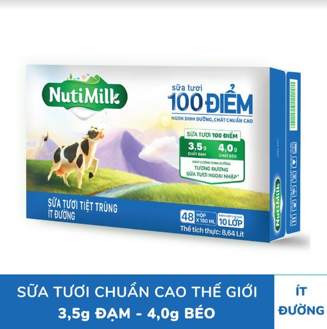 Thùng 48 hộp NutiMilk ST 100 điểm – ST tiệt trùng Ít Đường Hộp 110 ml/hộp