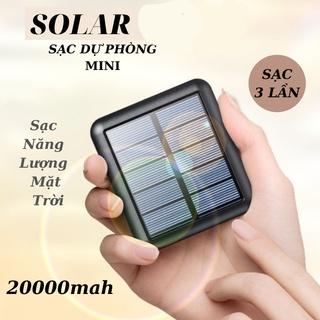 Sạc Dự Phòng Mini 200000mah- Sạc Năng Lượng Mặt Trời Solar Nhỏ Gọn Tiện Mang Theo