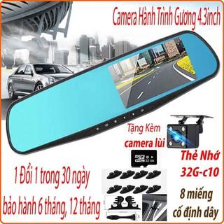 Camera hành trình ô tô, camera ht gương chiếu hậu (4.3inch),tặng camera lùi Vehicle Blackbox FullHD 1080, có tiếng việt
