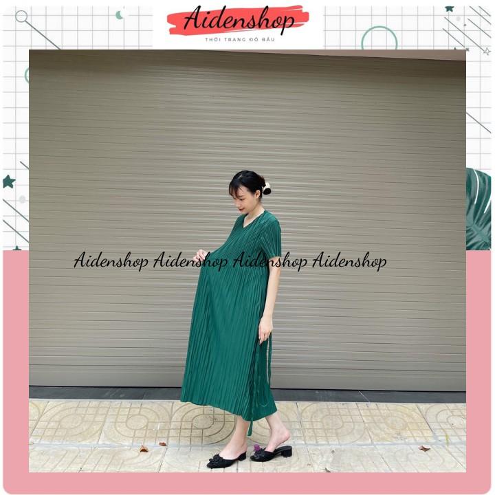 Mặc gì đẹp: Dễ chịu với Váy bầu xinh thời trang thiết kế dáng dài midi xếp li đầm bầu bigsize nhiều màu VB5