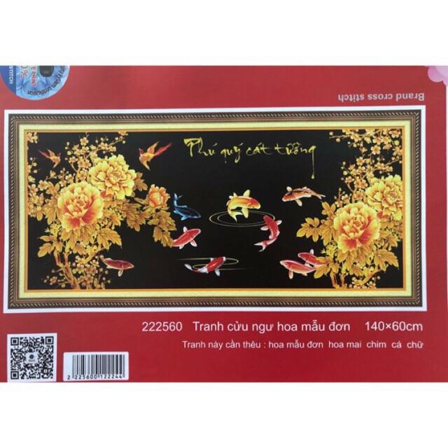 Tranh thêu chữ thập 3D Cửu Ngư Hoa Mẫu Đơn 222560 (140x60cm) chưa thêu