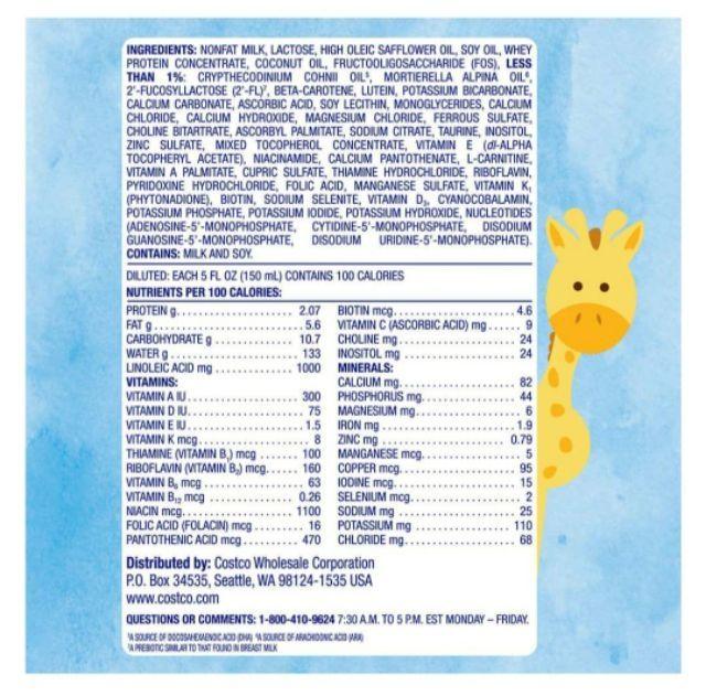 SỮA KIRKLAND INFANT FORMULA MẪU MỚI DATE 2/2022( CHUẨN AUTH CÓ BILL)