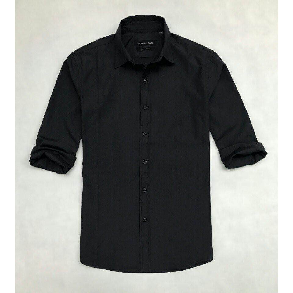 áo sơ mi nam màu đen không túi - thời trang nam MassimoDutti