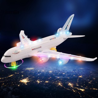 JUL DIY Assembly 360 Rotating Aircraft Flashing Sound Plane Model Education Kids Toy