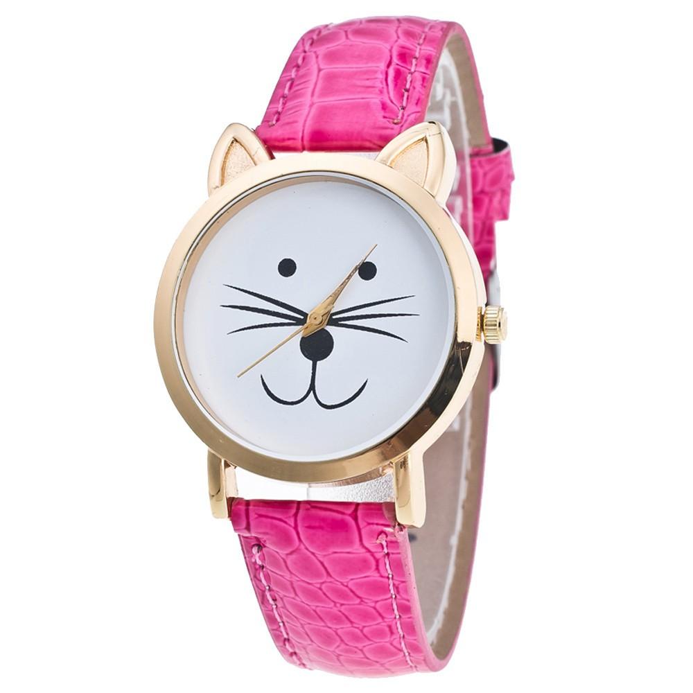MaeLover  Cat Face Pattern Leather Band Analog Quartz Vogue Wrist Watch