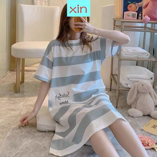 Sleep Female Summer Short-Sleeved Cotton Loose Large Size Pregnant Women Pajamas Skirt Striped Student Thin Section Can