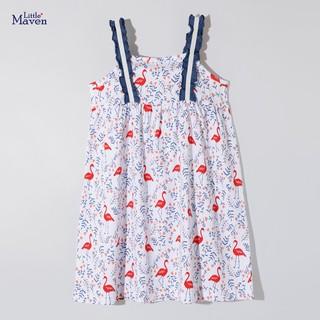 Váy hai dây bé gái hàng Little Maven cao cấp váy mùa hè bèo vai siêu điệu