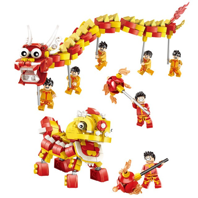 『Ready Stock』Building Blocks Dance Dragon Dance Lion Fit with Lego Kids Construction Sets Bricks Toys Lego Compatible