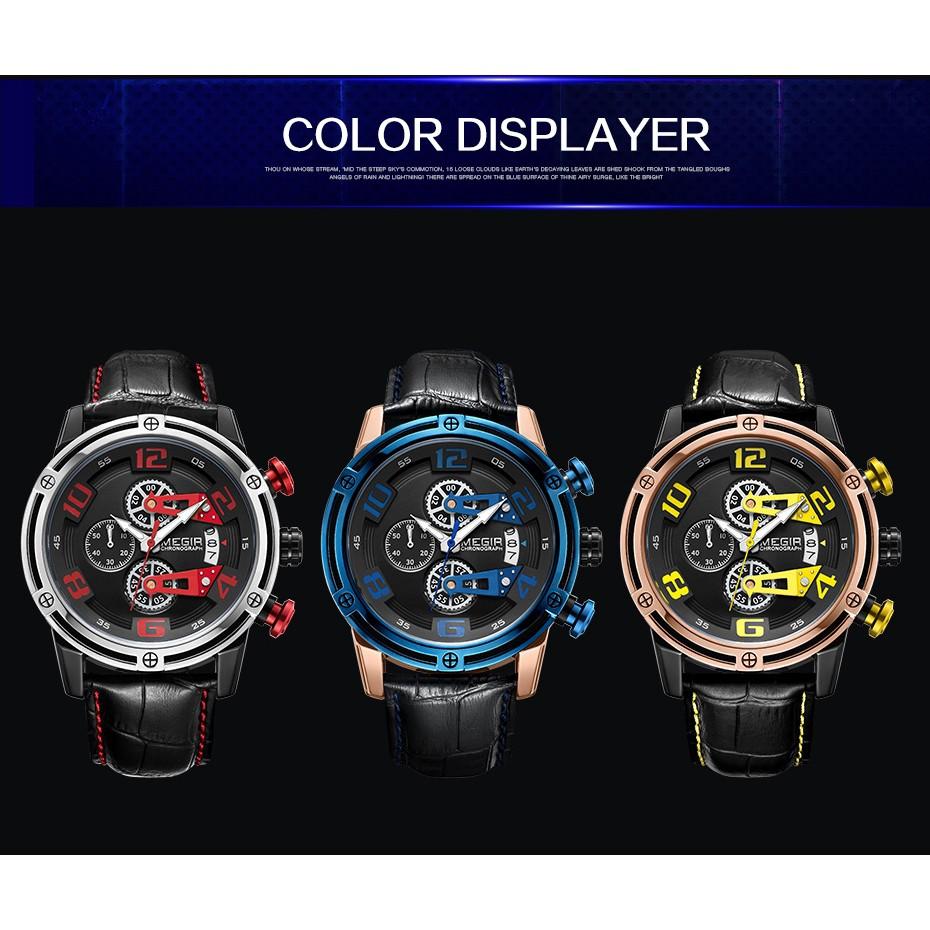 Đồng hồ đeo tay mặt tròn dây da thể thao MEGIR2078 dành cho nam