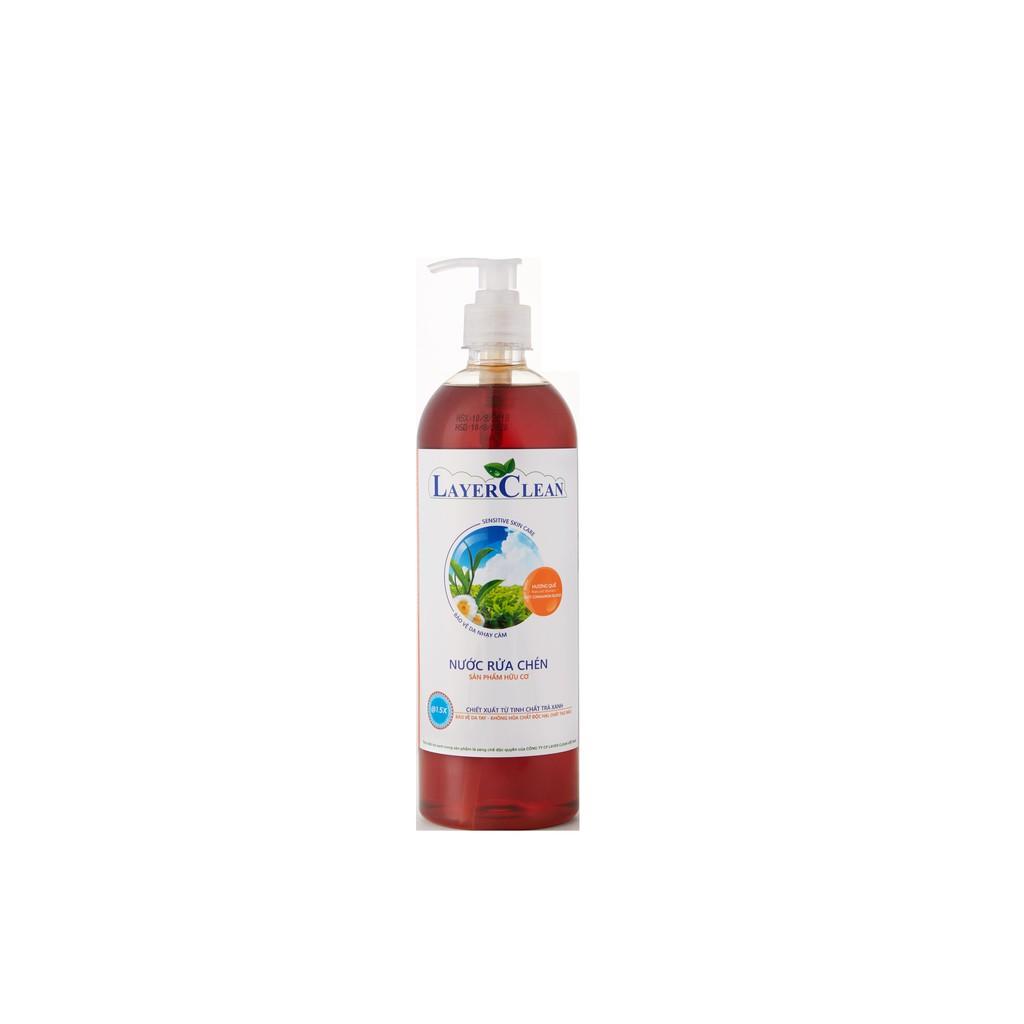 Nước rửa chén bát hữu cơ 800ml hương quế - Layer Clean