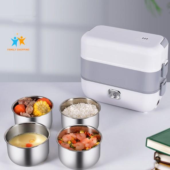 Hộp cơm cắm điện văn phòng tự nấu hộp cơm hâm nóng thức ăn 2 tầng 4 khay inox 304 có nắp chống tràn