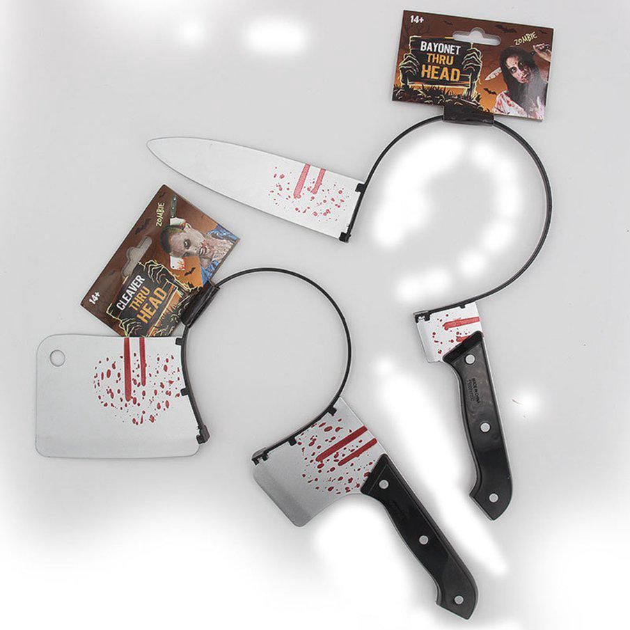 Halloween Horror Show Props Simulation Head Knives