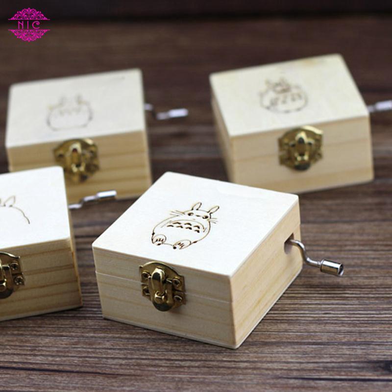 Creative Cartoon Hand Crank Wooden Music Box Case Gifts Presents Fun For Totoro