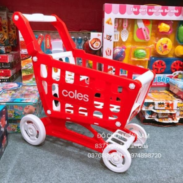 [Cao 47cm, Chắc chắn] Hộp đồ chơi xe đẩy siêu thị cao cấp dành cho bé (Không kèm phụ kiện, rau củ)