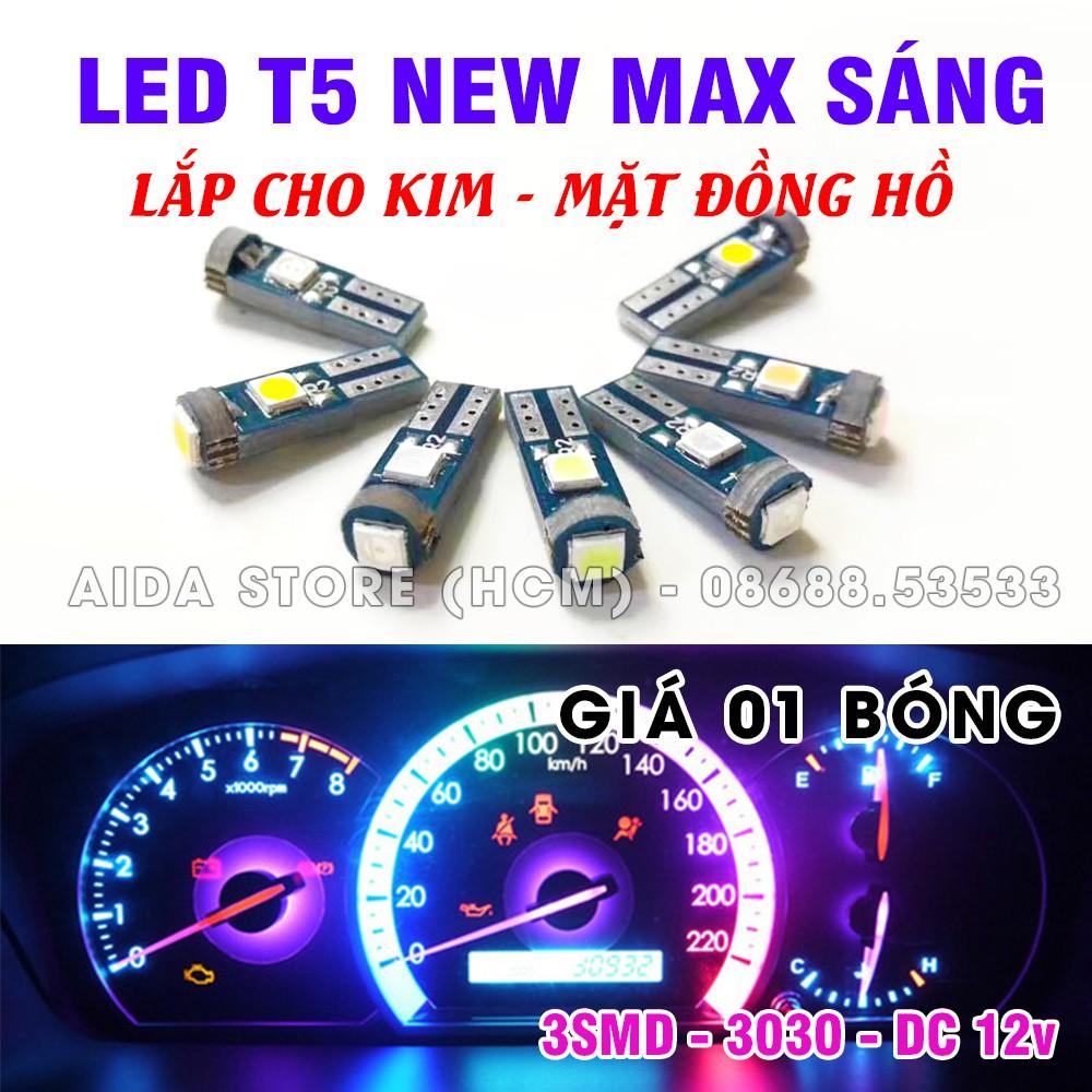 Bóng đèn led T5 3SMD 3030 gắn mặt đồng hồ, demi xe máy DC12v