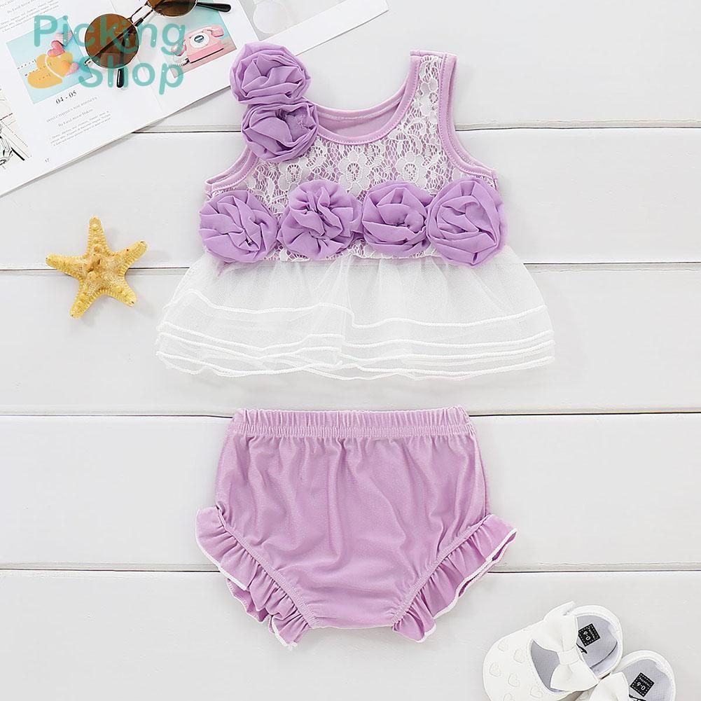 Infant Swimwear Baby Girls Flower Bathing Suit Kids Summer Split Swimsuit