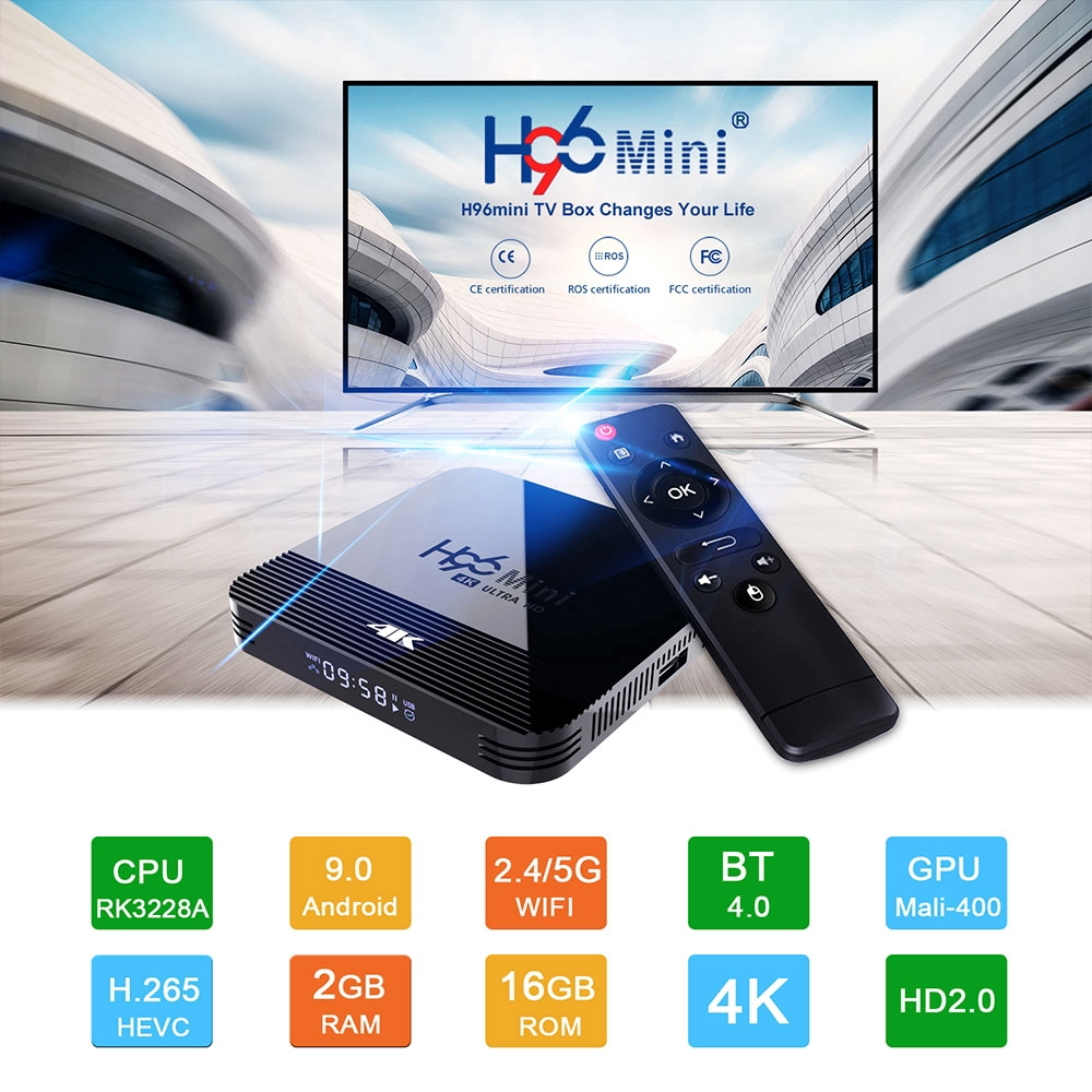 Tv Box H96 Mini Thông Minh Android 9.0 Wifi Bluetooth 4.0 Và Phụ Kiện