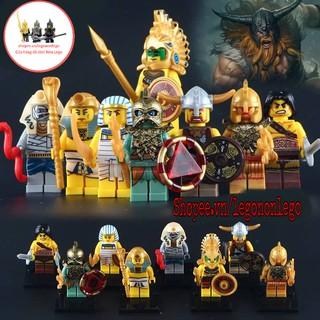 Minifigure lego lính trung cổ chiến binh Viking thổ dân Aztec xác ướp ai cập quân đội hoàng gia Atlantis X0161