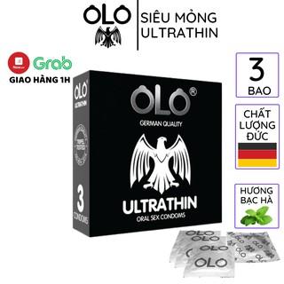 Bao cao su OLO 0.02mm 3 bao hộp thêm Gel bôi trơn tinh dầu bạc hà siêu mỏng Oral thumbnail