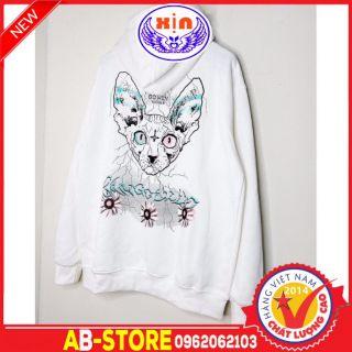 (loại dày) Áo khoác hoodie zip MÈO Mới mới