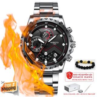 (TẶNG VÒNG TAY) Đồng hồ nam NIBOSI 2322 chính hãng, dây kim loại không gỉ, thép đúc đặc