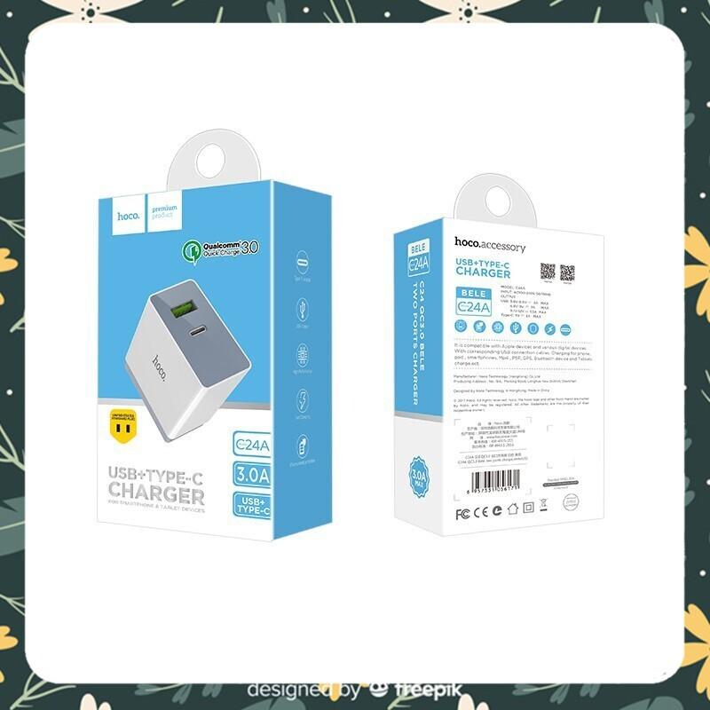 [Giá Rẻ - Hàng Đẹp] Củ Sạc Nhanh Hoco C24A QC 3.0 18W 1 cổng USB + Type-C