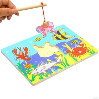 💖 MyBaby💖 Fishing Puzzle 3D Wooden Toys Magnetic For Toddlers Kid Toy