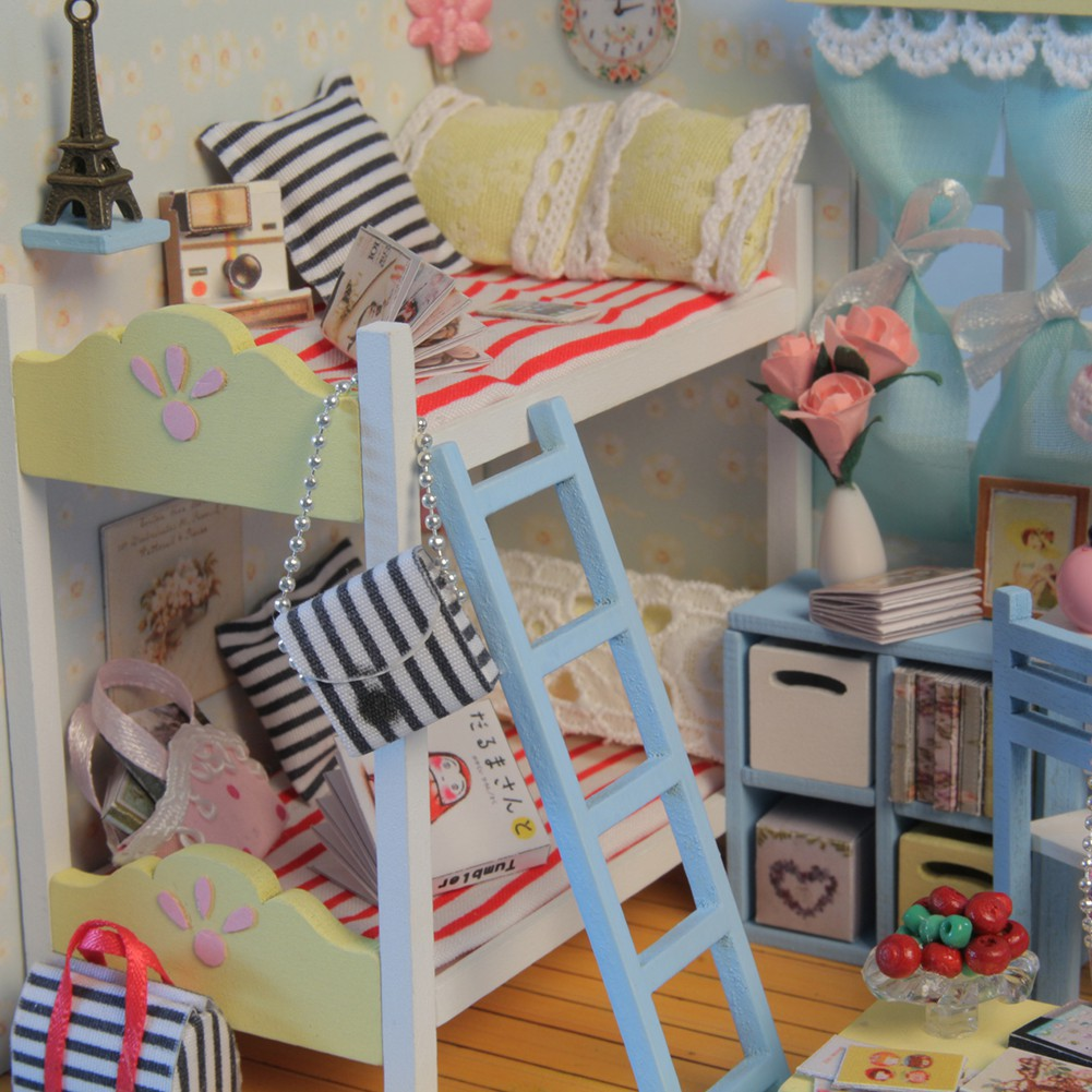 DIY Dollhouse LED Furniture Kit Girl Gift Toy Young Memory