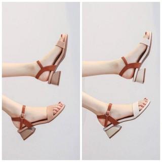 sandal gót gỗ phong cách hàn quốc