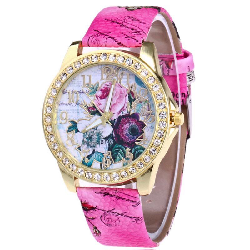 Đồng hồ thời trang nữ hoa hồng họa tiết phong cách Âu Mỹ cực đẹp DH93