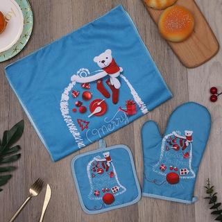Bộ ba miếng cách nhiệt Giáng sinh, găng tay lò vi sóng, khăn trải thảm cách nhiệt, in kỹ thu thumbnail