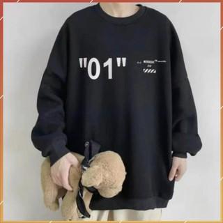 1hitshop áo sweater in số 01 nam nữ, áo sweater số 01 unisex 2 màu trắng đen