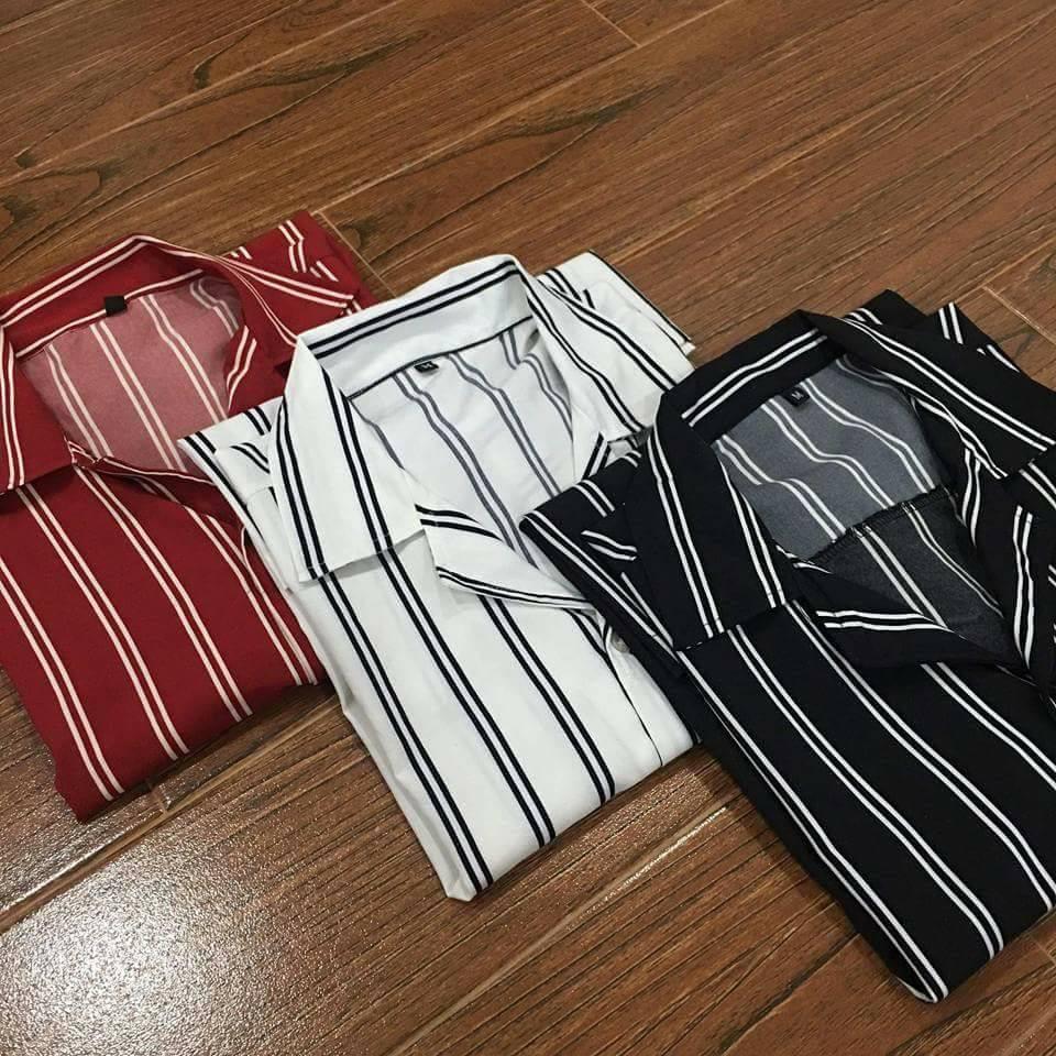 Áo sơ mi lụa NGẮN TAY sọc cổ vest NAM NỮ mát mỏng mịn mát kiểu Hàn Quốc (4 màu)