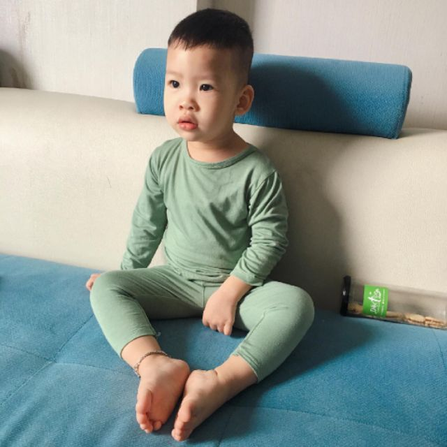 Bộ Dài Tay Cạp Cao Minky Mom Cotton Thun Lạnh Màu Trơn Cho Bé (SP000867)