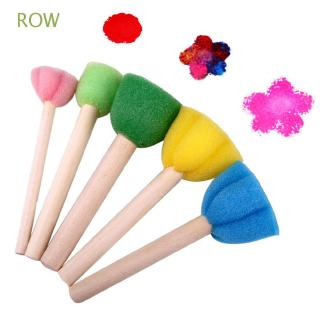ROW 5pcs/set Kids Gift Educational Graffiti Wooden Handle Flower Pattern Sponge Brush