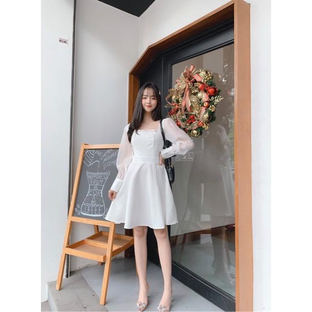Váy nữ, Đầm trắng xòe tay phồng dễ thương Babe Dress Vải loại 1