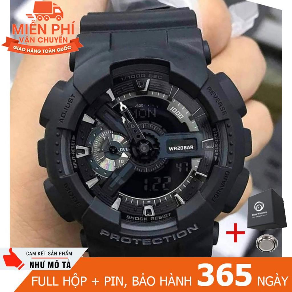 Đồng hồ thể thao kim điện tử nam đen GS