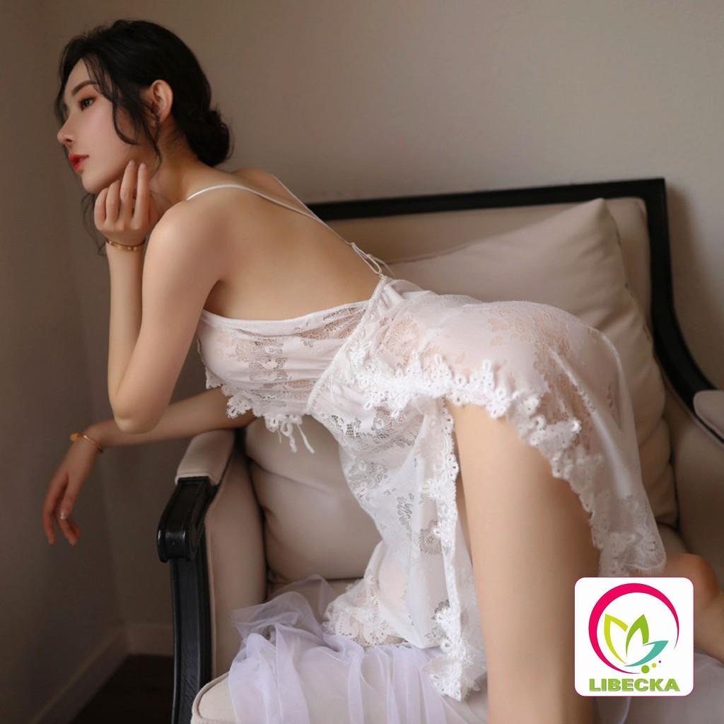 Váy ngủ đẹp dễ thương Ren 2 dây chéo lưng Sexy gợi cảm xuyên thấu quyến rũ phong cách Hàn Quốc cao cấp LIBECKA VAN16