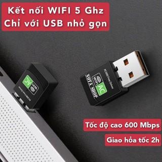 [CÓ SẴN] Kết nối WIFI 5G, thu sóng wifi 5 Gigabit AC bằng USB wifi, tốc độ cao 600Mbps cho máy bàn pc laptop, có 5G Hz