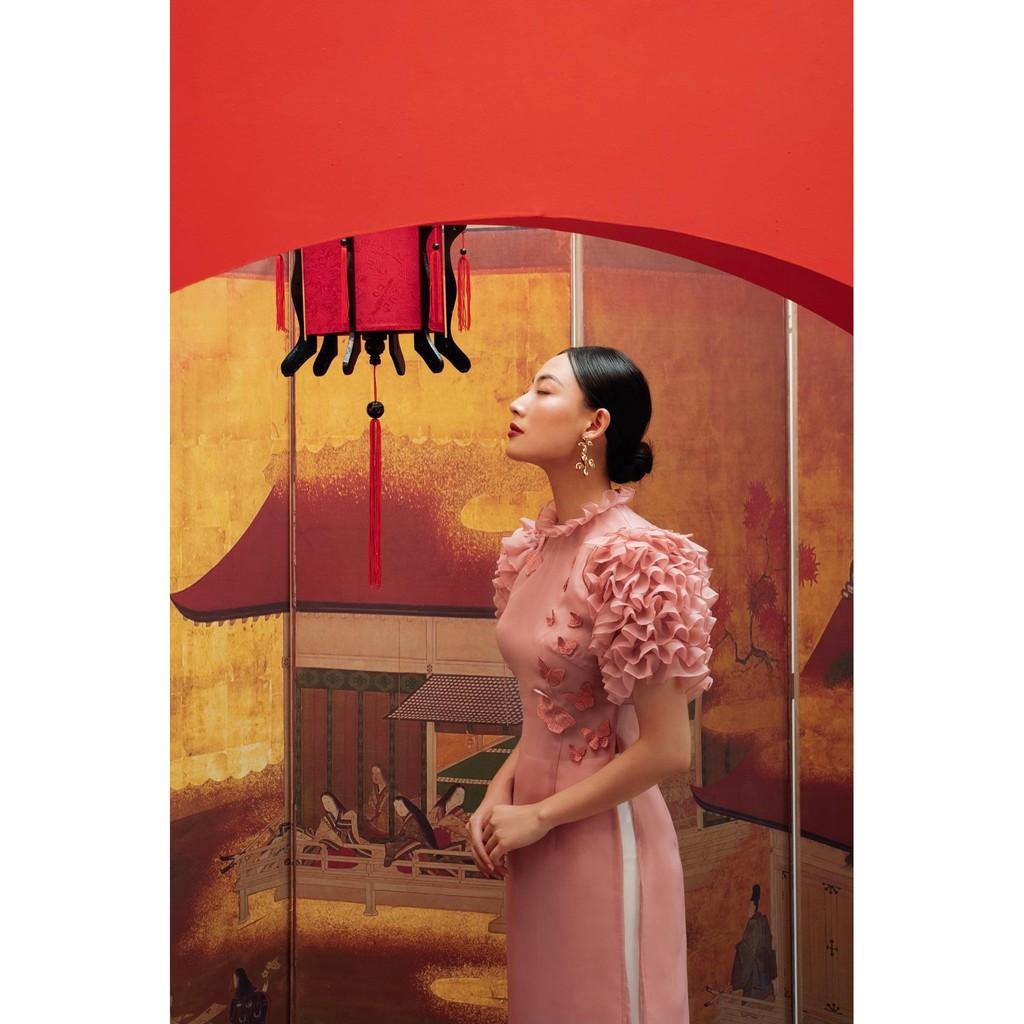 Áo dài organza hồng tay xếp nhún đính bướm và quần lụa-HBAD31,