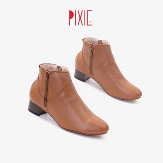 Giày Boot Thấp 3cm Cổ Ngắn 2 Dây Kéo Da Bò Thật Pixie P697