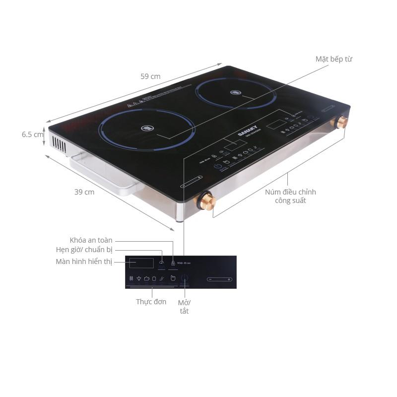 [ELHA12 giảm tối đa 300K] Bếp hồng ngoại đôi Sanaky SNK-203HGNW mặt kính Ceramic