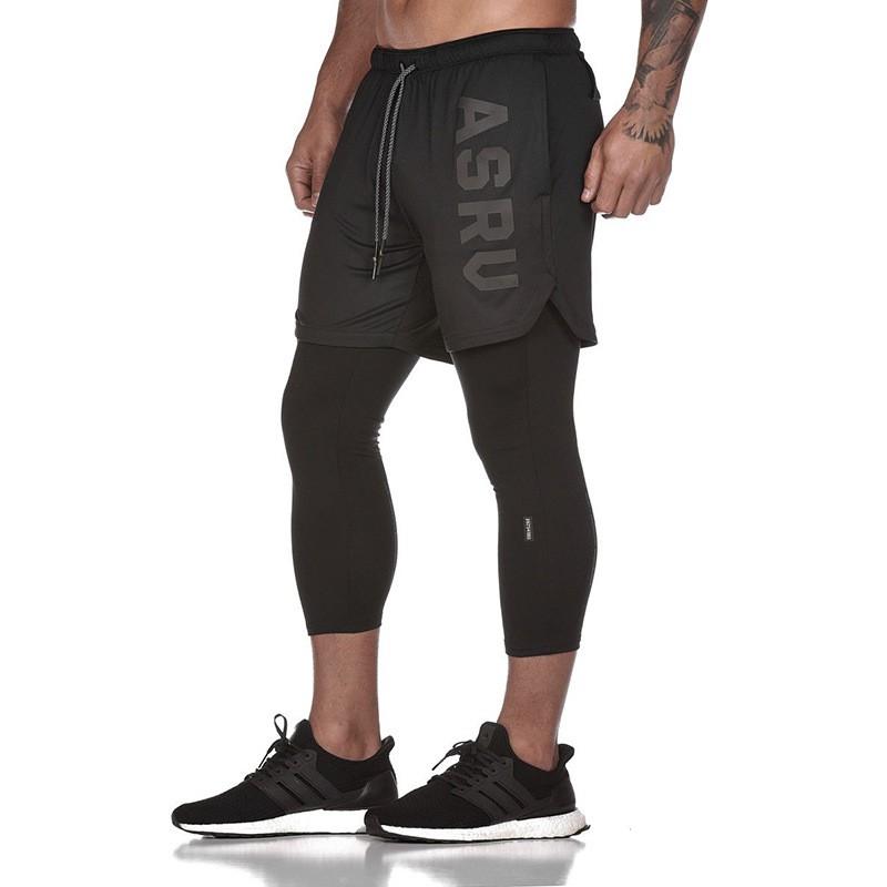 Quần tập gym nam 2 lớp legging ASRV chất vải train life,đồ tập gym nam chất
