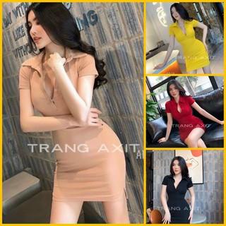 Đầm nữ body trơn cổ bẻ gài nút Đầm ôm nữ sexy polo thumbnail