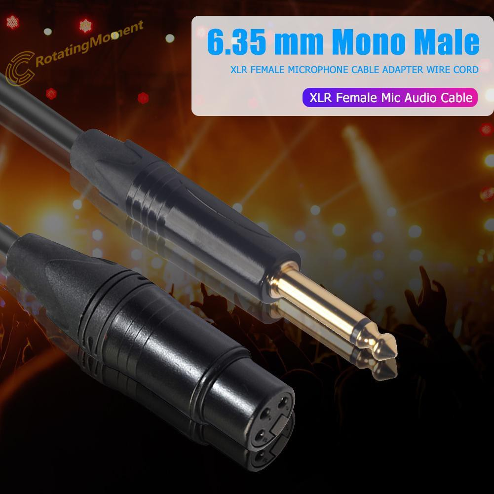 3m/9.84ft 6.35mm Mono Male to XLR Female Microphone Cable Adapter Wire Cord