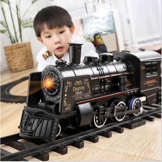 Bộ đồ chơi lắp ráp tàu hỏa Hiệu ứng ánh sáng và âm thanh Hơi nước và khói – 181x78cm