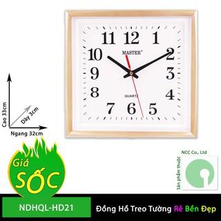 Đồng hồ treo tường - mặt vuông nền trắng - NDHQL-HD21