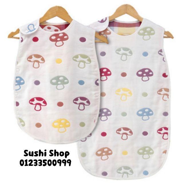 (FreeShip) Túi ngủ trẻ em Vải Xô (ẢNH THẬT) – Túi ngủ cho bé hình nấm